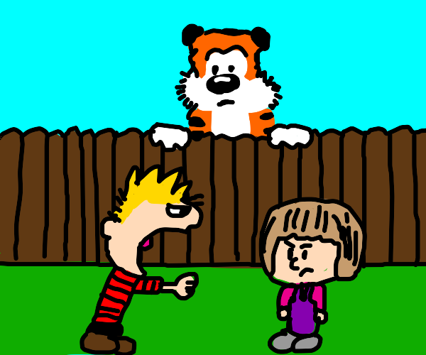 Calvin is mad at Susie (Hobbs in background)