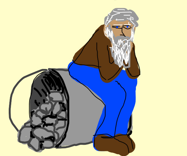 Old man on a bucket with rocks in it