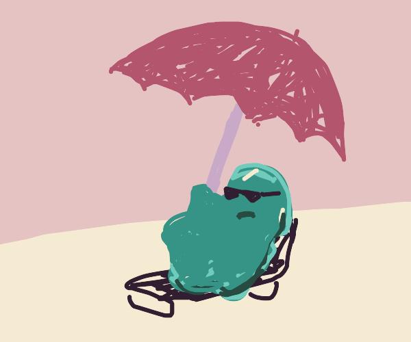 Blob under its patio umbrella.