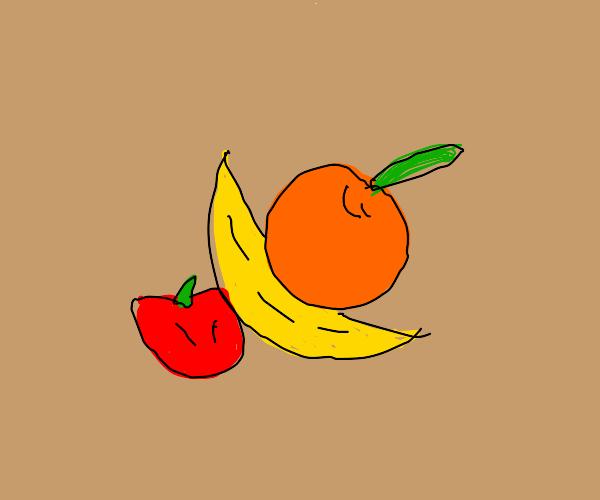 banana tucked between an orange and an apple