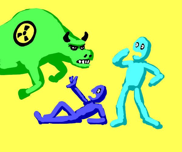 radiation bull attacks cyan and blue guys