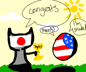 Japan Cup congratulating American shaded ball