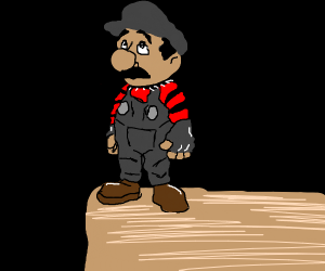Mario on edge of a cliff