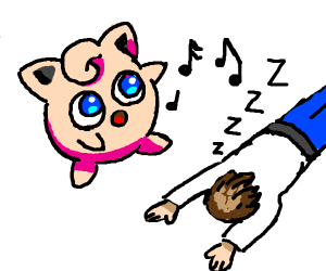 Jigglypuff sings, guy falls asleep.