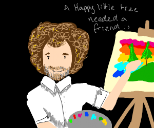 Bob Ross' drawing of two happy little trees