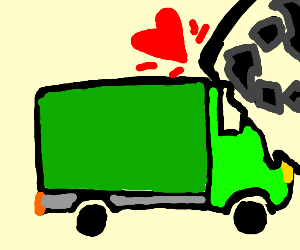 green van with recycling sign