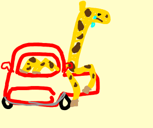 poor giraffe cant fit into car