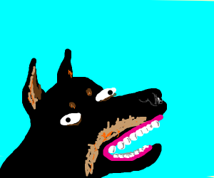 Doberman with human teeth