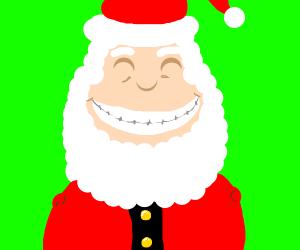 Santa has a white grin, but no arms.