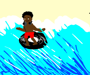 totally BLACK dj, surfing the ocean on a disk