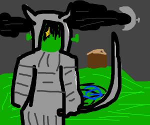 samurai shrek is guarding his swamp