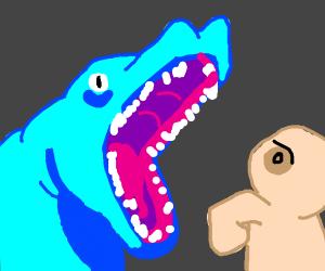 Blue alligator attacks man