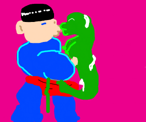 Superman kissing a snake