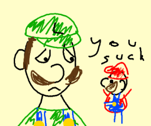 Close Luigi face; Small Mario whispers to him