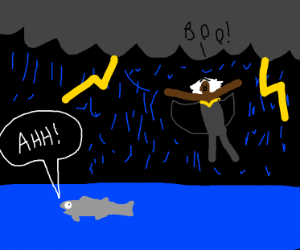 Salmon startled by storm