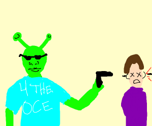Shrek murdering people in donation to the oce