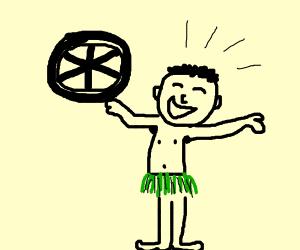 genius caveman invents the wheel