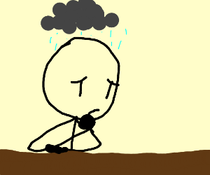 Black stick figures are having a rainy day