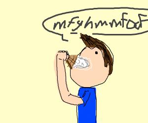 Man stuffing icecream into man's mouth