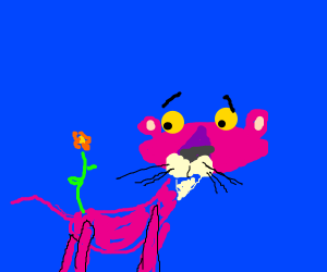 Pink panther, with a flower on caboose