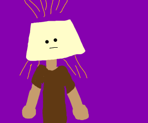 a guy with a croocked lamp shape for a head