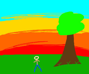 man looking at a tree while the sun sets
