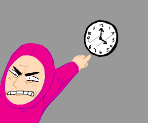 man in pink spandex suit points at clock