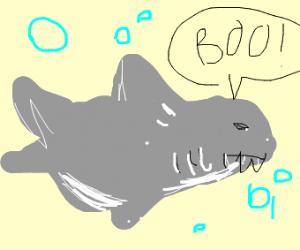 a shark saying boo