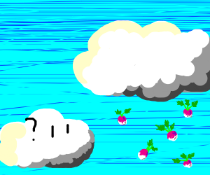 Normal cloud looks at cloud that rains turnip