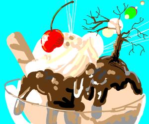 Dead tree in sunny dessert