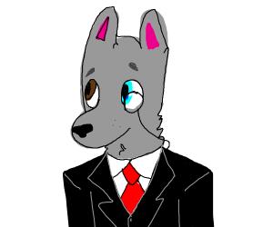 Wolf in suit wearing monocle eyeglass