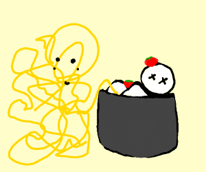 Pasta cooking a Human(the tables have turned)