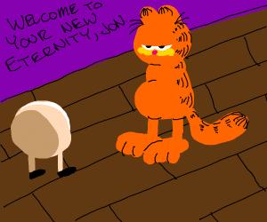 cat w/legs&NOhands looks @ball w/legs&NOhands