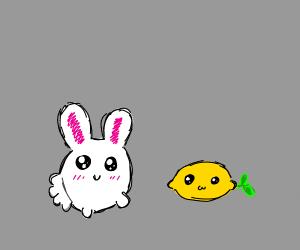 a happy rabbit with a lemon