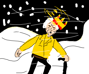 Old queen in snow storm, crown falling off