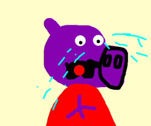 Peppa pig sad w/ purple skin