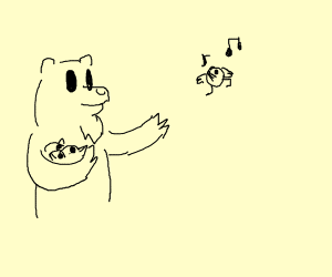 Bear shoots birds and a bird dances.