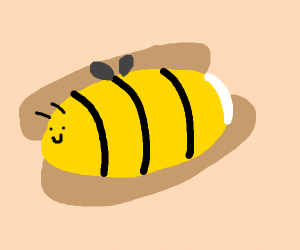 hot dog but the sausage is a bee