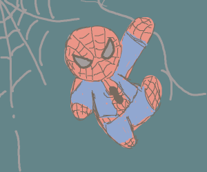 Spiderman swinging from webs
