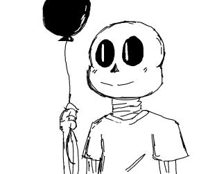 Sans without jacket holding a ballon