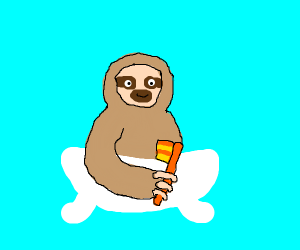 A Sloth taking a shower