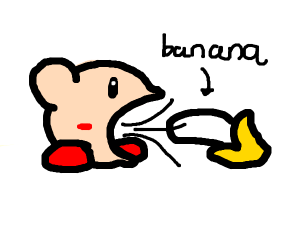 Kirby sucks up a banana