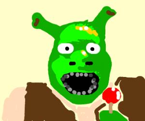 Shrek eating a tootsie pop