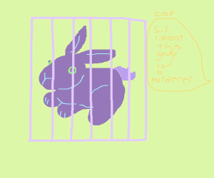 Purple bunny locked up in prison