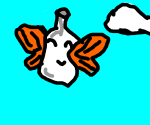Flying Bottle with Butterfly Wings