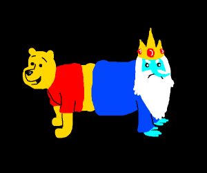 Winnie the Pooh and Ice king as cat dog