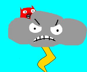 Evil cloud with devil emoji