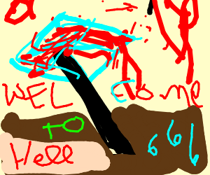 Diamond axe covered in blood in hell