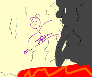 purple person jumoing over lava pool