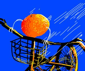 orange on a bike